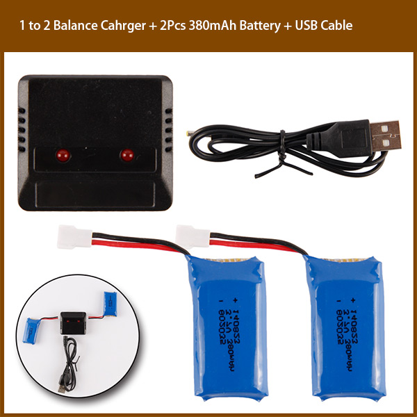1 to 2 Balance Charger � 2Pcs 3.7V 380mAh Battery � USB Cable for H107 Series 385 F180