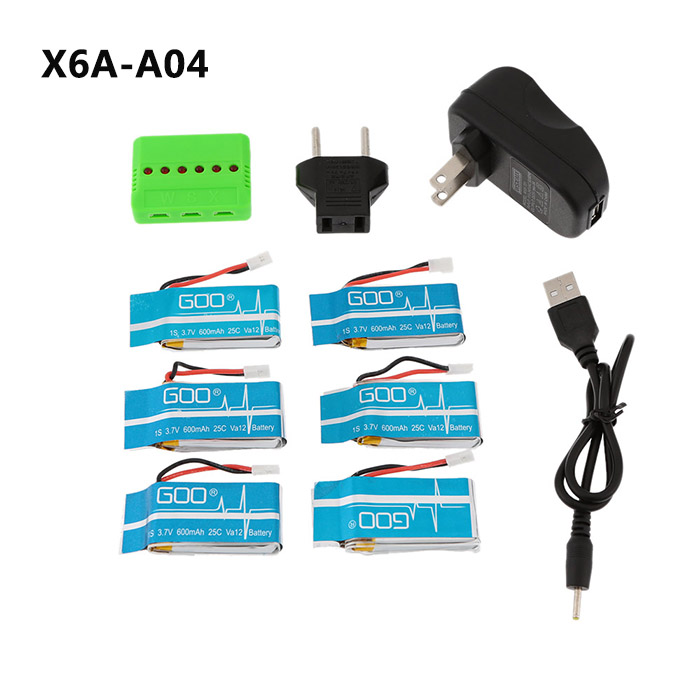 WSX/MX X6A-A04 6-Port Charger 6 Pcs 3.7V 600MAH 25C Battery Short-circuit Protection Over-charge Protection Accessories of Syma X5 / X5C CX-30 JJRC H5C WLtoys V931 3A US Plug with EU Adapter
