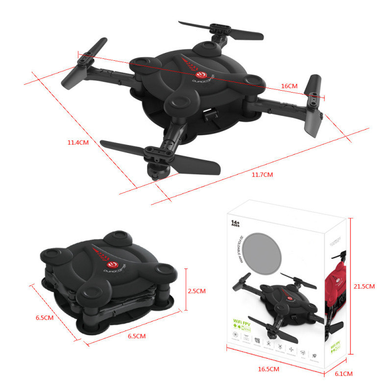 Eachine E55 Mini FPV WiFi Pliable Selfie Drone de Poche - Version RFT NOIR