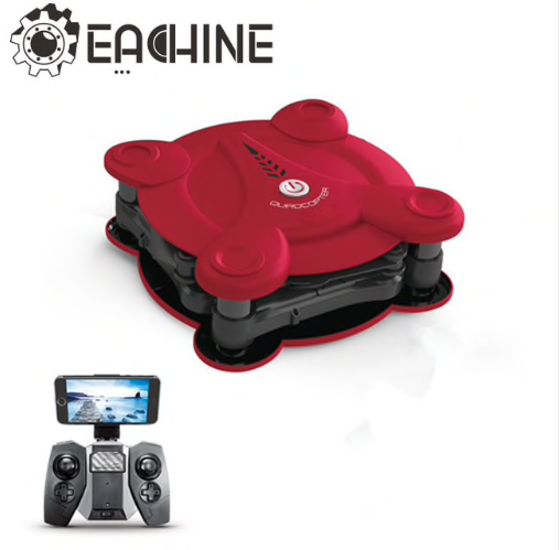 Eachine E55 Mini FPV WiFi Pliable Selfie Drone de Poche - Version RFT ROUGE