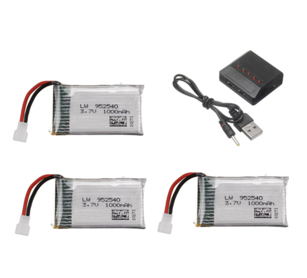 Syma X5 X5C X5SC X5SW TK M68 CX30 K60 90520V931 battery batterie charger chargeur 1000mah 3pcs