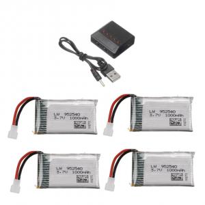 Syma X5 X5C X5SC X5SW TK M68 CX30 K60 90520V931 battery batterie charger chargeur 1000mah 4pcs