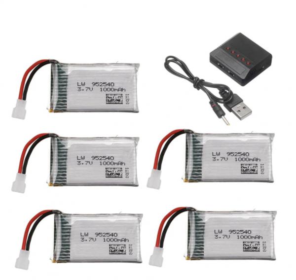 Syma X5 X5C X5SC X5SW TK M68 CX30 K60 90520V931 battery batterie charger chargeur 1000mah 5pcs