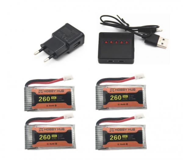 eachine e010 e011 e012 e01 furibee f36 caricabatteria 260mah 4 pezzi