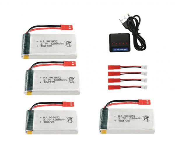 jjrc h11c h11d battery batterie 1200mah charger 4pcs