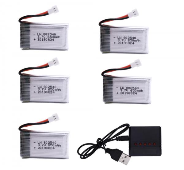 syma X5C X5C 1 X5 X5SC X5SW M68 K60 HQ 905 CX30 batterie battery 650mah charger 5pcs