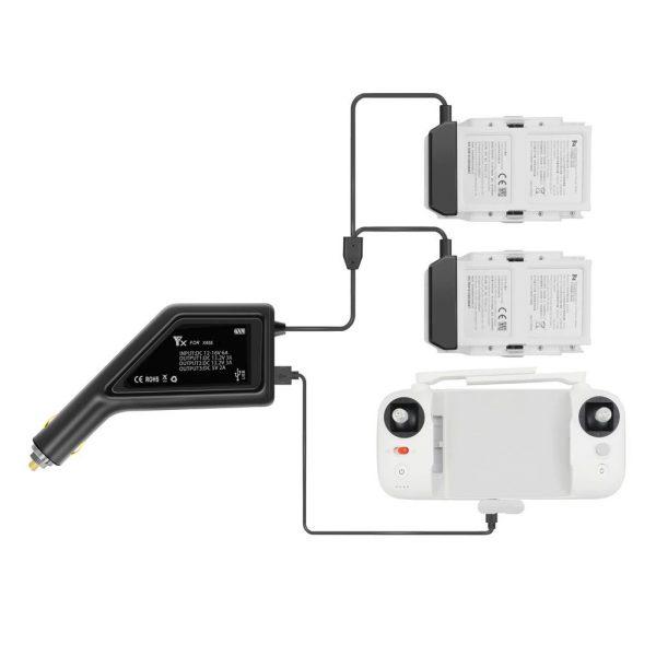 Chargeur de Voiture Allume Cigare 3 en 1 pour Telecommande 2 Batteries pour XIAOMI FIMI X8 SE