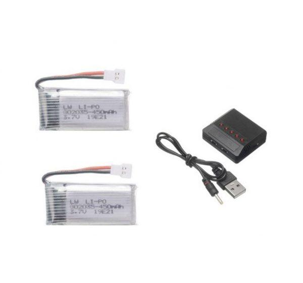 2 Batteries 3.7V 450mAh Chargeur 5 en 1 pour Hubsan H107 JJRC H31 H6C Eachine E33 E33C Wltoys U816A V252 KY101