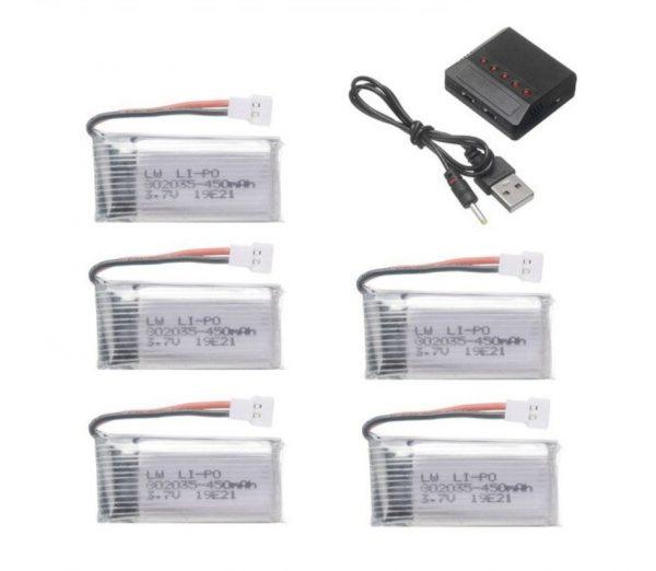 5 Batteries 3.7V 450mAh Chargeur 5 en 1 pour Hubsan H107 JJRC H31 H6C Eachine E33 E33C Wltoys U816A V252 KY101