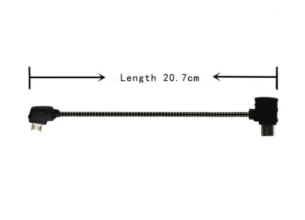 Cavo dati remoto in nylon morbido per DJI Mavic Pro Platinum Air Mini 2 Pro Zoom ANDROID REVERSE MICRO USB 20,7 cm