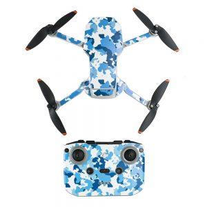Kit Autocollants Stickers Protecteurs Drone Télécommande Waterproof en PVC pour Mavic Mini 2 CAMOUFLAGE BLEU