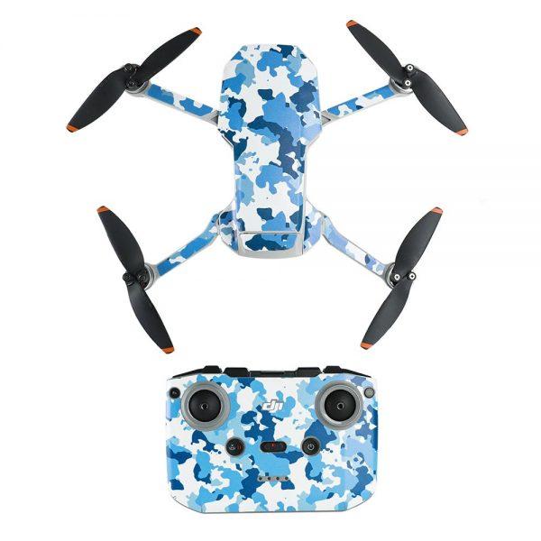 Kit adesivi protettivi per telecomando con drone in PVC impermeabile per Mavic Mini 2 BLUE CAMOUFLAGE