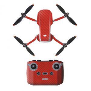 Kit adesivi protettivi per decalcomanie protettive con telecomando in PVC impermeabile per Mavic Mini 2 RED CARBON