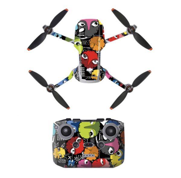Kit Autocollants Stickers Protecteurs Drone Télécommande Waterproof en PVC pour Mavic Mini 2 HIBOUX