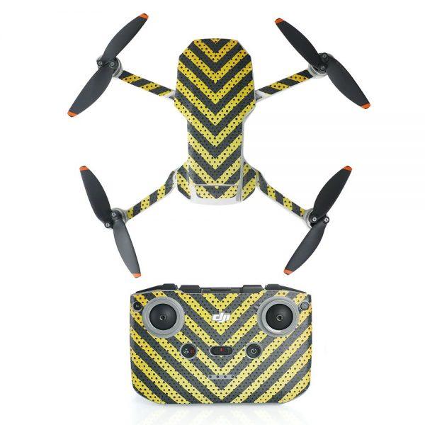 Kit Autocollants Stickers Protecteurs Drone Télécommande Waterproof en PVC pour Mavic Mini 2 RAYURES NOIRES JAUNES