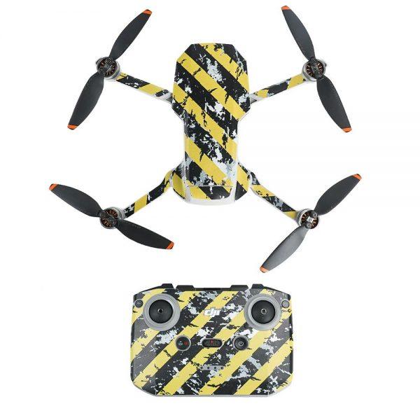 Kit Autocollants Stickers Protecteurs Drone Télécommande Waterproof en PVC pour Mavic Mini 2 RAYURES NOIRES JAUNES USEES