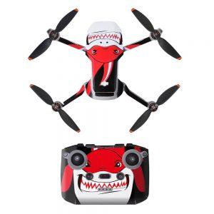 Kit Autocollants Stickers Protecteurs Drone Télécommande Waterproof en PVC pour Mavic Mini 2 REQUIN ROUGE