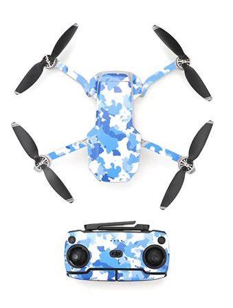Kit adesivi protettivi per drone con telecomando in PVC impermeabile per Mavic Mini BLUE CAMOUFLAGE