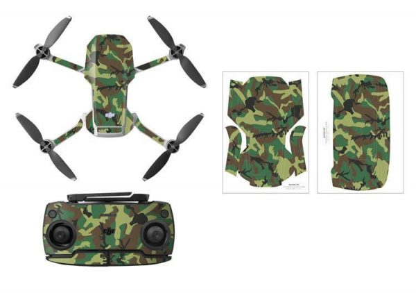 Kit adesivi protettivi per drone con telecomando in PVC impermeabile per Mavic Mini GREEN CAMOUFLAGE