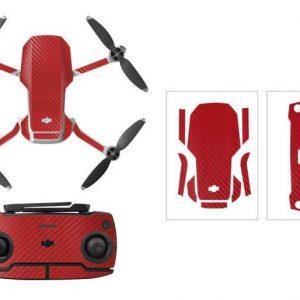 Kit Autocollants Stickers Protecteurs Drone Telecommande Waterproof en PVC pour Mavic Mini CARBONE ROUGE
