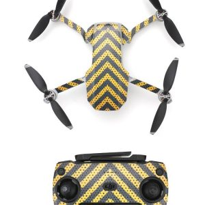 Wasserdichtes PVC-Fernbedienungs-Drohnen-Aufkleber-Aufkleber-Kit für Mavic Mini BLACK YELLOW STRIPS