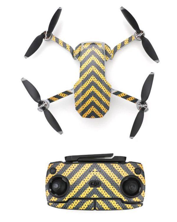 Kit adesivi protettivi per drone con telecomando in PVC impermeabile per Mavic Mini STRISCE GIALLO NERO
