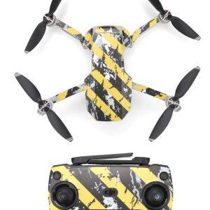 Kit Autocollants Stickers Protecteurs Drone Telecommande Waterproof en PVC pour Mavic Mini RAYURES NOIRES JAUNES USEES