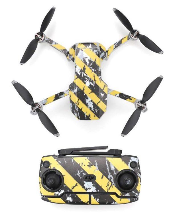 Kit adesivi protettivi per decalcomanie protettive per drone con telecomando in PVC impermeabile per Mavic Mini STRISCE GIALLE NERE USATE