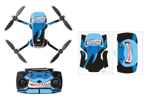 Kit adesivi protettivi per drone con telecomando in PVC impermeabile per Mavic Mini BLUE SHARK