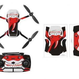 Kit Autocollants Stickers Protecteurs Drone Telecommande Waterproof en PVC pour Mavic Mini REQUIN ROUGE