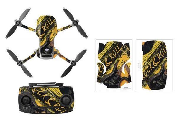 Kit adesivi protettivi per droni con telecomando in PVC impermeabile per Mavic Mini ROCK ROLL