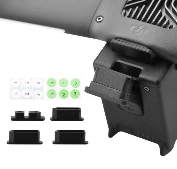 4 Caches Anti Poussiere pour Ports de Charge 1 pour Port Drone 3 pour Ports Batteries pour DJI FPV Combo