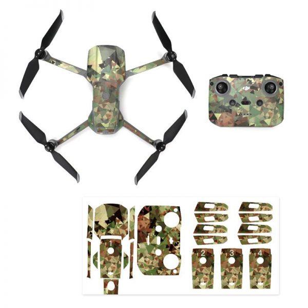Kit Autocollants Stickers Protecteurs Drone Telecommande Waterproof en PVC pour Mavic Air 2 CAMOUFLAGE 3D IMG1