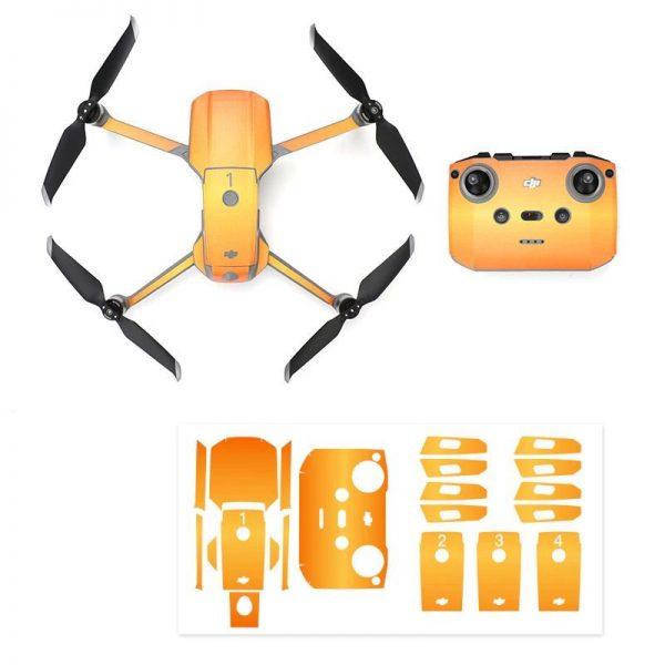 Kit Autocollants Stickers Protecteurs Drone Telecommande Waterproof en PVC pour Mavic Air 2 ORANGE SUNSHINE IMG1