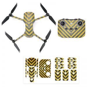 Kit Autocollants Stickers Protecteurs Drone Telecommande Waterproof en PVC pour Mavic Air 2 RAYURES NOIRES JAUNES IMG1