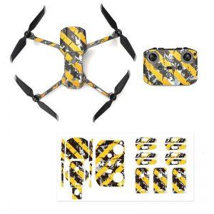 Kit Autocollants Stickers Protecteurs Drone Telecommande Waterproof en PVC pour Mavic Air 2 RAYURES USEES NOIRES JAUNES IMG1