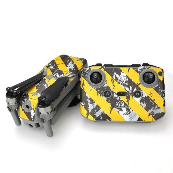 Kit Autocollants Stickers Protecteurs Drone Telecommande Waterproof en PVC pour Mavic Air 2 RAYURES USEES NOIRES JAUNES IMG2