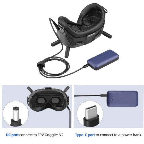 Cavo di alimentazione da 153 cm da USB tipo C a CC per Power Bank per DJI FPV Goggles V2 IMG2