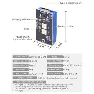 Luce stroboscopica universale per DJI Phantom Mavic 2 Air 2 2S Mini 1 2 Spark FIMI X8 SE 2020 IMG5